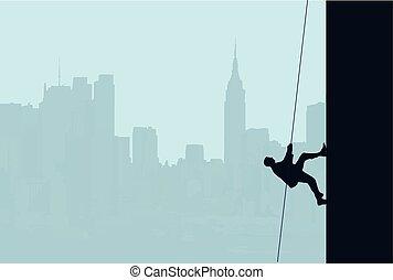 escalamiento, hombre de negocios, rascacielos
