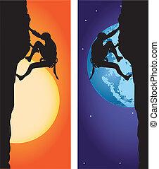 escalando, -, alpinismo