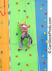 escalando, ao ar livre, parede, criança