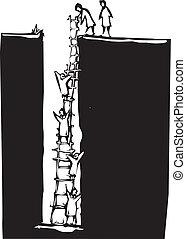 escalando, buraco, saída