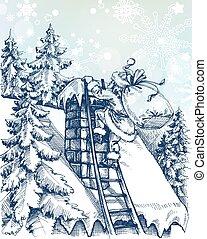 escalando, cena, chaminé, natal, santa