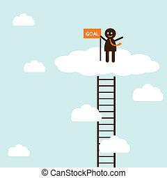escalando, escada, sucesso, homem negócios