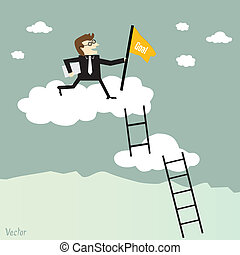 escalando, escada, sucesso