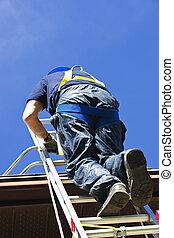 escalando, escada, trabalhador construção