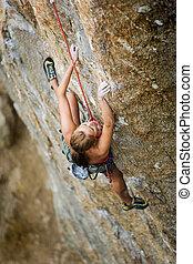 escalando, femininas, rocha