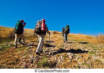 escalando, hikers, montanha
