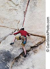 escalando, homem, rocha