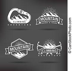 escalando, montanha, etiqueta
