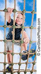 escalando, pátio recreio, criança