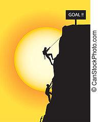 escalando, para, a, meta