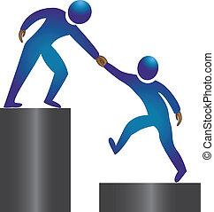 escalando, para, sucesso, logotipo