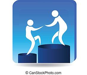 escalando, para, sucesso, metas, logotipo