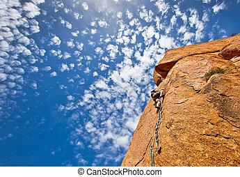 escalando, rocha
