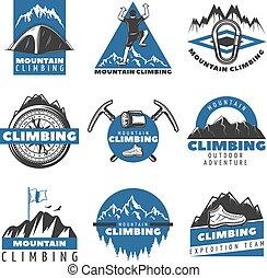 escalando, vindima, colorido, jogo, etiquetas, montanha