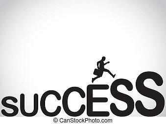 escalar, conceito, negócio, sucesso, homem
