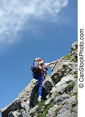 escalar, escalador, rocha