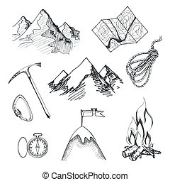 escalar montanha, acampamento, ícones