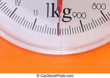 escalas, aguja, kilo