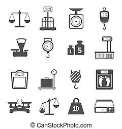 escalas, conjunto, peso, iconos