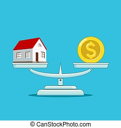 escalas, dólar, casa, edificio, moneda