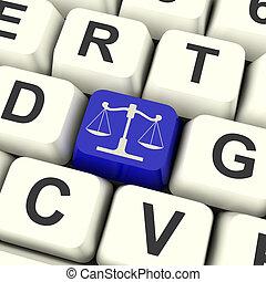 escalas de la justicia, llave, medios, ley, ensayo