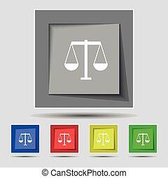 escalas justiça, ícone, sinal, ligado, original, cinco, colorido, buttons., vetorial