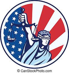 escalas, justiça, bandeira americana, retro, segurando, ...