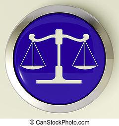 escalas, justiça, botão, meios, julgamento, lei
