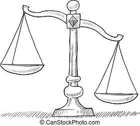 escalas, justiça, desequilibrado, esboço