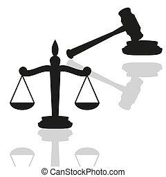 escalas justiça, e, gavel
