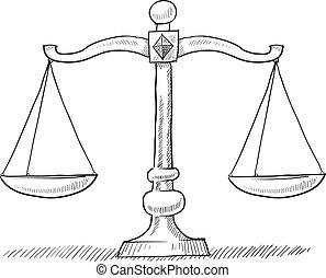 escalas, justicia, bosquejo
