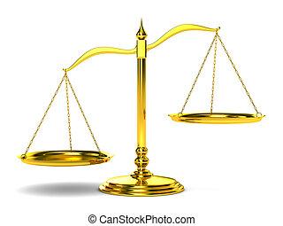 escalas, justicia, imagen, aislado, fondo., blanco, 3d