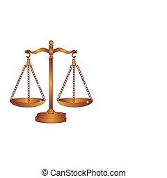 escalas, justicia, sca, pesar, o, bronce
