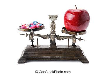 escalas, maçã, tigelas, pílulas