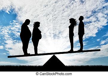 escalas, pareja, gente, grasa, delgado, estante