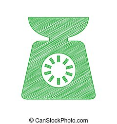 escalas, sólido, cocina, blanco, signo., garabato, fondo., verde, contorno, illustration., icono