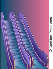 escalator. abstract stair on a multicolor background