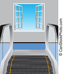Escalator and open window - Escalator leading to an open...