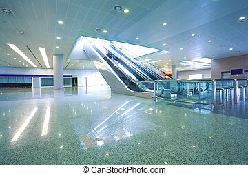 escalator, business, moderne, étapes, architecture, en ...