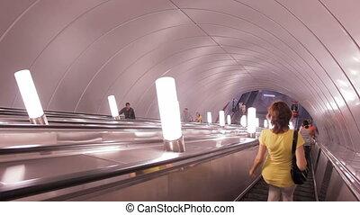 escalator, cavalcade, russie, métro, petersburg, rue.