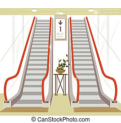 Escalator - This illustration is a common cityscape.
