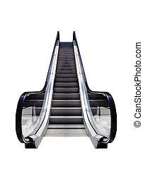 Escalator, conceptual image. - Escalators isolated on white ...