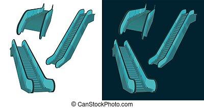 escalator, couleur, dessins