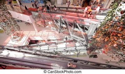 escalator, défaillance, centre commercial, temps