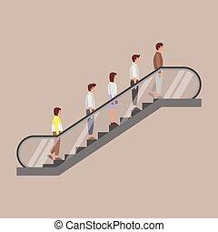 escalator, debout, peuples