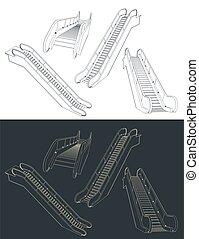 escalator, dessins