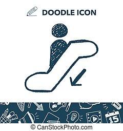 escalator down doodle