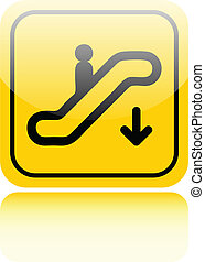 Escalator down glossy sign on white