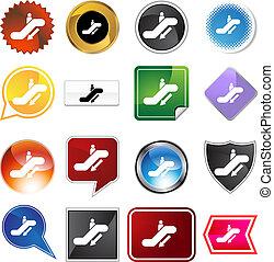 Escalator Down Icon Set