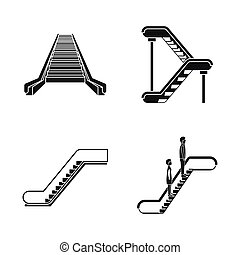 Escalator elevator icons set, simple style